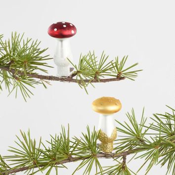 9 Pack Glass Mushroom Boxed Ornaments Set of 2