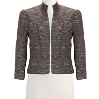 Button lapel textured pinstripe jacket