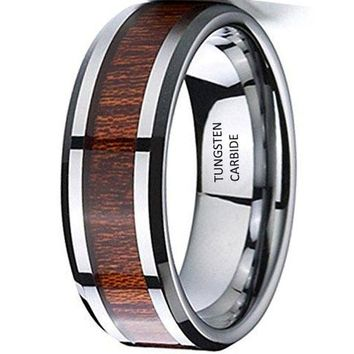 CERTIFIED 8mm Silver Tungsten Carbide Wedding Engagement Ring Polished Beveled Edge Wood Inlay Band