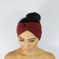 Burgundy Headband,Twist Headband,Burgundy Turban,Hippie Headband,Hair Accessories,Headband,Boho Headband,Turban,Burgundy  Twist Headband
