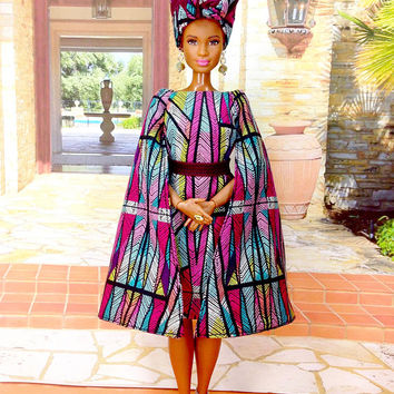 Curvy African Style Barbie Doll Dress - Angel Wings African Style Dress, Hat, Earrings, Removable Belt, and Shoes