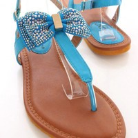 Blue Faux Leather Bow Tie Sandals