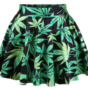 Women Skirts Spring Summer Weed LEAF Skater Skirt Casual Bright Color Pleat Mini