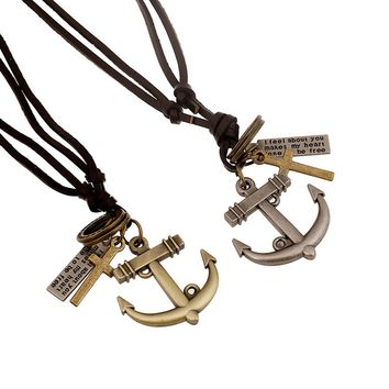 Anchor men's and women's long Genuine Leather Necklace