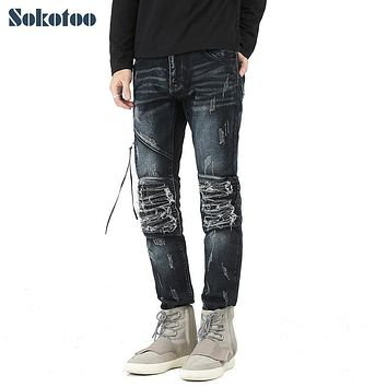 Sokotoo Men's casual hole ripped pleated biker jeans Fashion patchwork PU leather patch slim denim pants Long trousers