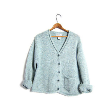 Slouchy LL Bean Cardigan Sweater Chunky Wool Knit Cropped Marled Knit Sea Foam Green Button Up Sweater With Pocket Medium