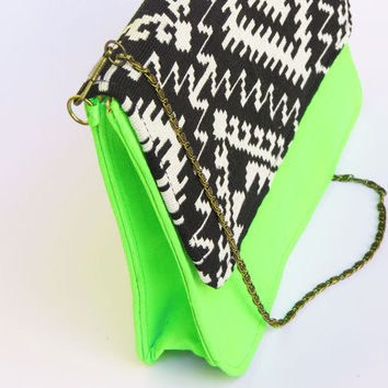 NEON GREEN BAG / Neon green sling bag, black bag neon cross-body bag tribal navajo pattern summer bag modern trendy fashion India bag