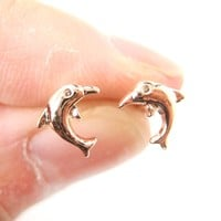 Small Dolphin Fish Sea Animal Stud Earrings in Rose Gold | DOTOLY