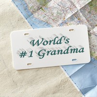 World's #1 Grandma 3D License Plate, Blue Green License Plate
