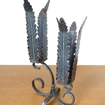 Vintage black metal leaf double candleholder