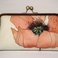 EllenVINTAGE Romantic Poppy Clutch in Coral