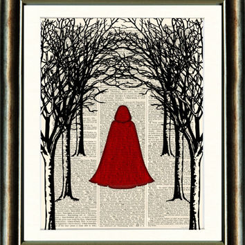 Little Red Riding Hood - vintage book page print image on a page from an Upcycled late 1800s Dictionary Buy 3 get 1 Free. Teacups