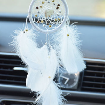 White Car Dream catcher, Car Decor, Car Rear View Mirror Charm, Gift Idea For Men/ Women, Hanging Decor,  Elephant.