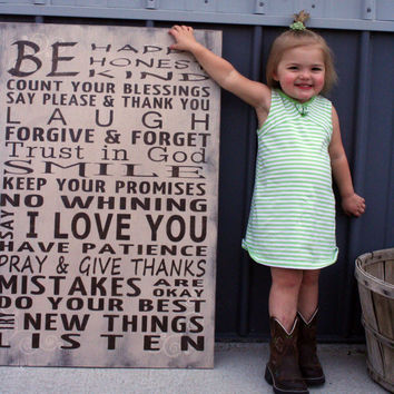 Family Rules Sign Wood Sign Home Decor Wall Sign Rustic Shabby Chic Room Decor Childrens Signage Handpainted Sign Handmade Sign Cream Brown