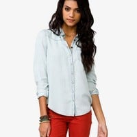 Pearl Snap Button Chambray Shirt   FOREVER 21 - 2044137408