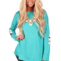 Dark Mint Tunic with Mint Aztec Elbow Patch