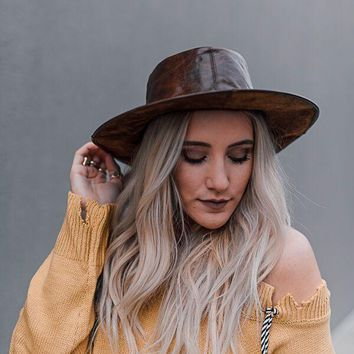 Leather Lily Western Brimmed Hat
