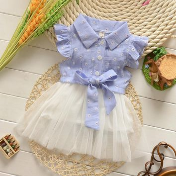 Spring Summer Baby Dress Casual Style Baby Girls Dress High Quality Bow Baby Dress for Girls Turn Down Collar Baby Girl Clothes