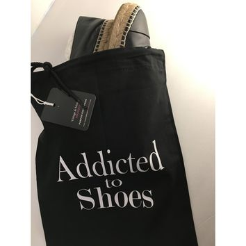 Addicted To Shoes String Dust Bag Travel Bag Black