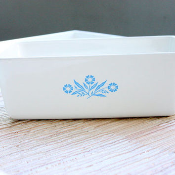 Vintage 1960s Corning Ware Blue Cornflower Loaf Pan / Meatloaf Pan / Baking Pan / Vintage Kitchenware / Meatloaf Pan