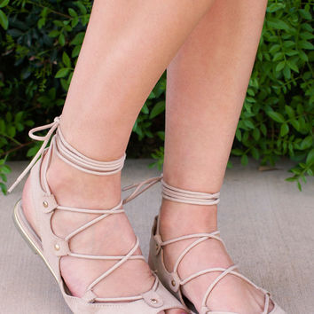 Taylor Lace Up Sandals - Nude