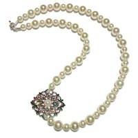 Pearl Necklace with Side Brooch Cream Rose Swarovski Handmade Jewelry