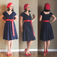 3 Piece Set!  Vintage inspired Mod Navy Blue Pin Up 40s 50s 60s CHERRYBOMB V-Neck Swing Dress Set with Cherry Red Beret and Satin Sash!