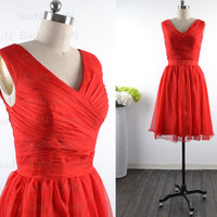 Red Bridesmaid Dresses, Custom Straps V neck Chiffon Cocktail Dresses, Short Red Formal Dresses