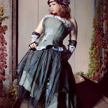 """Steampunk Bohemian Wedding Gown with Gothic Nature Designs """"Organic Raven Gown""""-Custom to Order"""