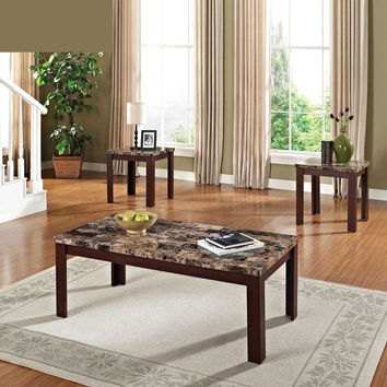 Acme Finely 3Pc Pack Coffee/End Table Set, Light Brown Faux Marble & Cherry