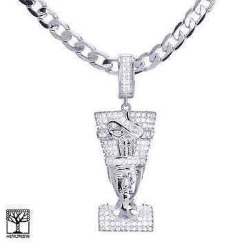 "Jewelry Kay style Men's Silver Plated Iced Egyptian Pharaoh Pendant 24"" Chain Necklace BCH 13127 S"