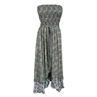 Mogul Womens Recycled Silk Sari Two Layer Versatile Dual Design Vintage Printed 2 In 1 Dress And Maxi Skirts - Walmart.com