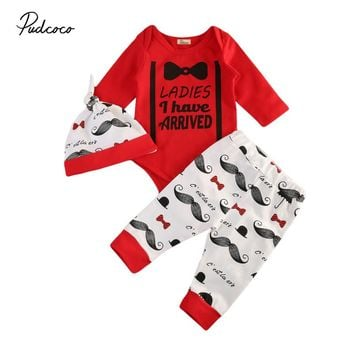 Pudcoco 3Pcs/Set Autumn Newborn Infant Baby Boy Cotton Long Sleeve bowknot Romper+Mustache Pants+Hat 3pcs Outfits Set Autumn Set