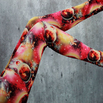 GALAXY Sky Space Dust Star Moon Universe Cosmic Planet Earth Mars Nebula Leggings