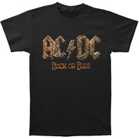 AC/DC Men's  Rock Or Bust Logo T-shirt Black Rockabilia