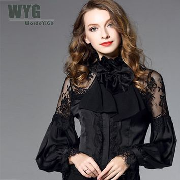 Famous Brand White Shirt Women 2018 Spring New Ruffle Stand Collar Bow Tie Lace Trim Casual Long Sleeve Chiffon Blouse WYG