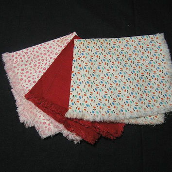 Set of 7 Vintage 1940s Calico & Solid Luncheon, Tea, or Bridge Napkins or Quilt Fabric Supply in Cotton, 3 Different Fabrics, Nice Fabric