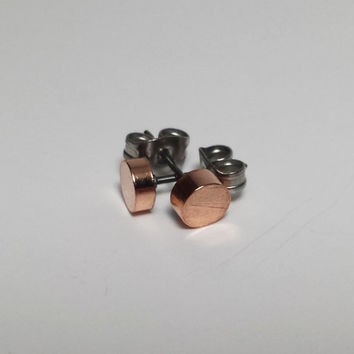 Copper Stud earrings with hypoallergenic surgical steel earring posts