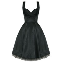 H & R London Black Satin Marilyn Pinup Style  6842