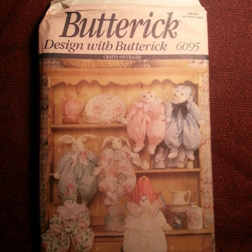 Uncut 1992 Butterick Sewing Pattern, 6095! Stuffed Animals/Stuffed Clowns/Bunnies/Rabbits/Cats/Block Dolls/Doll Clothes/Jumpsuits