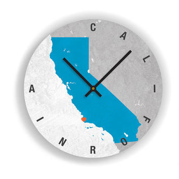 "PERSONALIZED CALIFORNIA STATE Map Art Wall Clock-Large Unique Contemporary Wall clock-11"" and 16""  Diameter - No Ticking Sound"