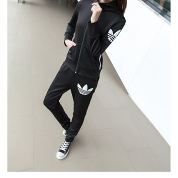 """Adidas"" Fashion Casual Stripe Clover Print Short Sleeve Zip Cardigan Set Two-Piece Sportswear"