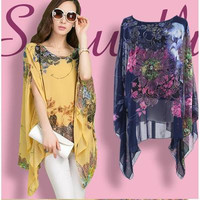 Chiffon Extra Plus Size Floral Printed Loose Sports Hoodies Short Sleeve Handkerchief T-Shirt Top