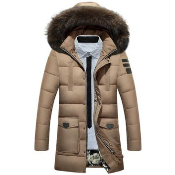 Thick Long Winter Jackets Men White Down Jacket Fur Hood Male Parka High quality Keep Warm Windproof Coats Man Outerwear JK-686