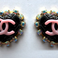 Double C's Heart Stud Earrings