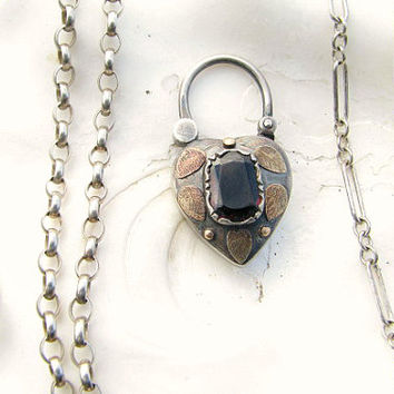 Antique Heart Padlock Necklace, Sterling and Gold with Garnet and Leaf Design, Choose Your Favorite Chain, Edwardian Era