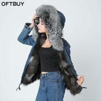 2017 new denim jacket winter jacket women genuine natural fox real fur coat Hooded With Raccoon Dog Fur Collar Thick Warm Fur