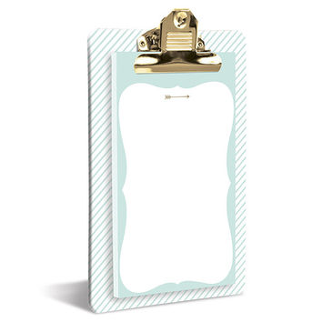 Mint and Gold Clipboard & Notepad