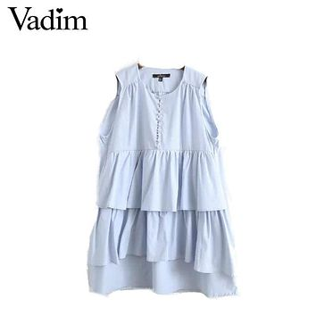 women elegant cascading ruffles shift dress sleeveless Pearl buckle o neck vestidos European style fashion dresses QZ2900
