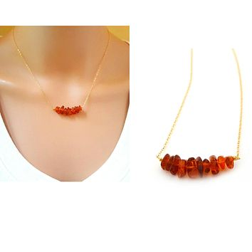 Baltic Amber Bar Necklace - 14k Gold Filled Jewelry